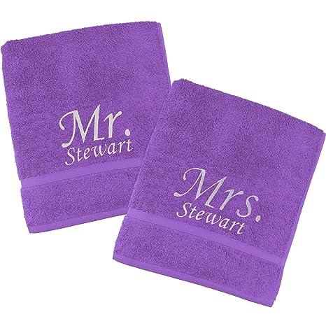 TeddyTs Juego de toallas bordadas personalizables con el texto en inglés Mr & Mrs (80