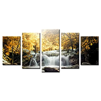 Amazon.com: Framed Contemporary Canvas Paintings Waterfall Scenery ...