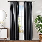 "AmazonBasics Room Darkening Blackout Window Curtains with Tie Backs Set, 42"" x 96"", Black"