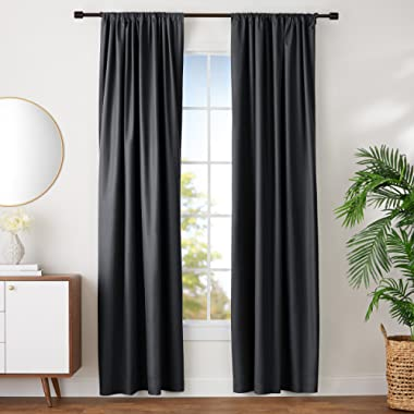 AmazonBasics Room Darkening Blackout Window Curtains with Tie Backs Set, 52  x 96 , Black