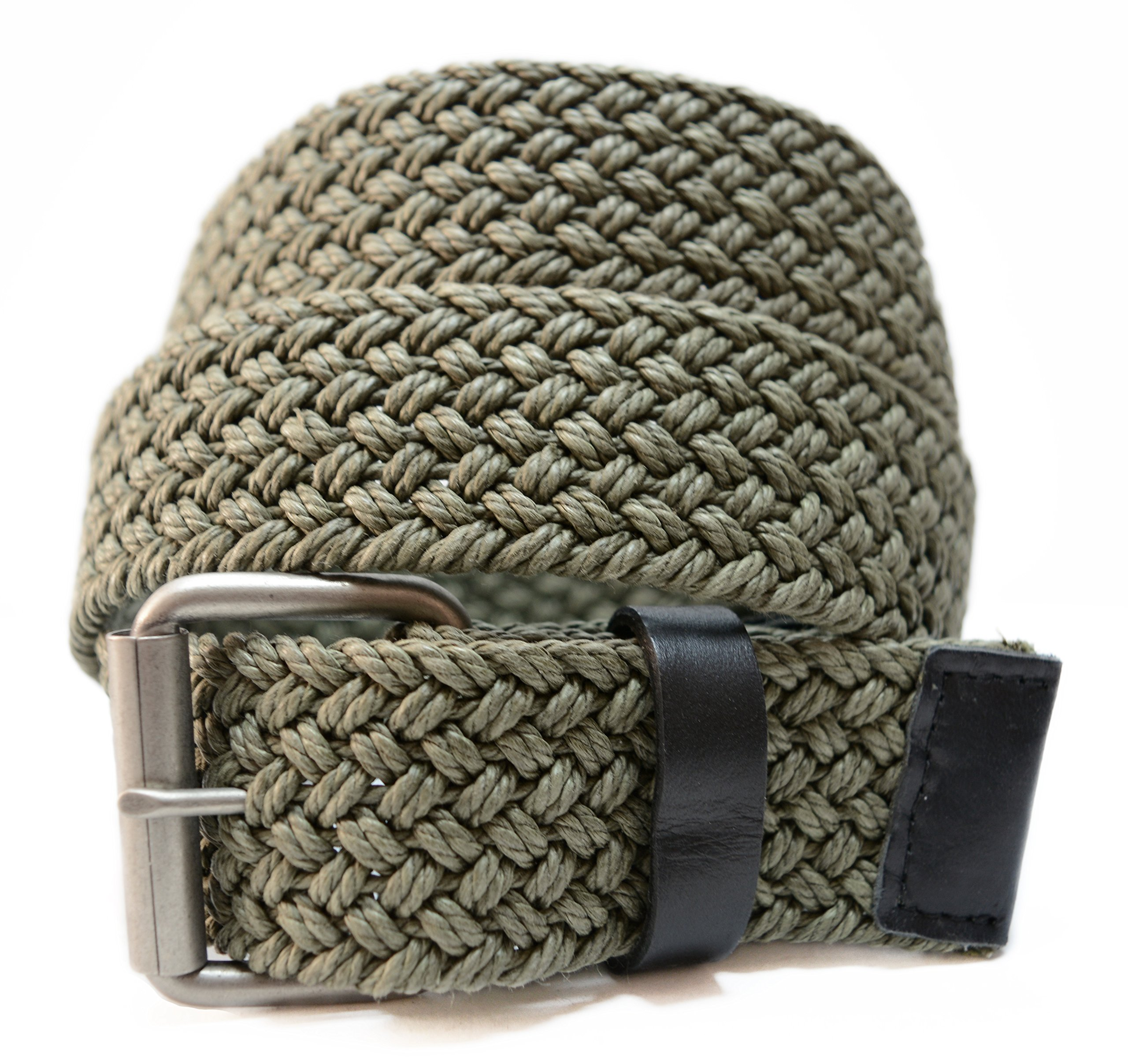 AK744 - Men's Casual Nautical Woven Braided Cotton Roller Buckle Belt (S (fits 29'' waist), Olive)