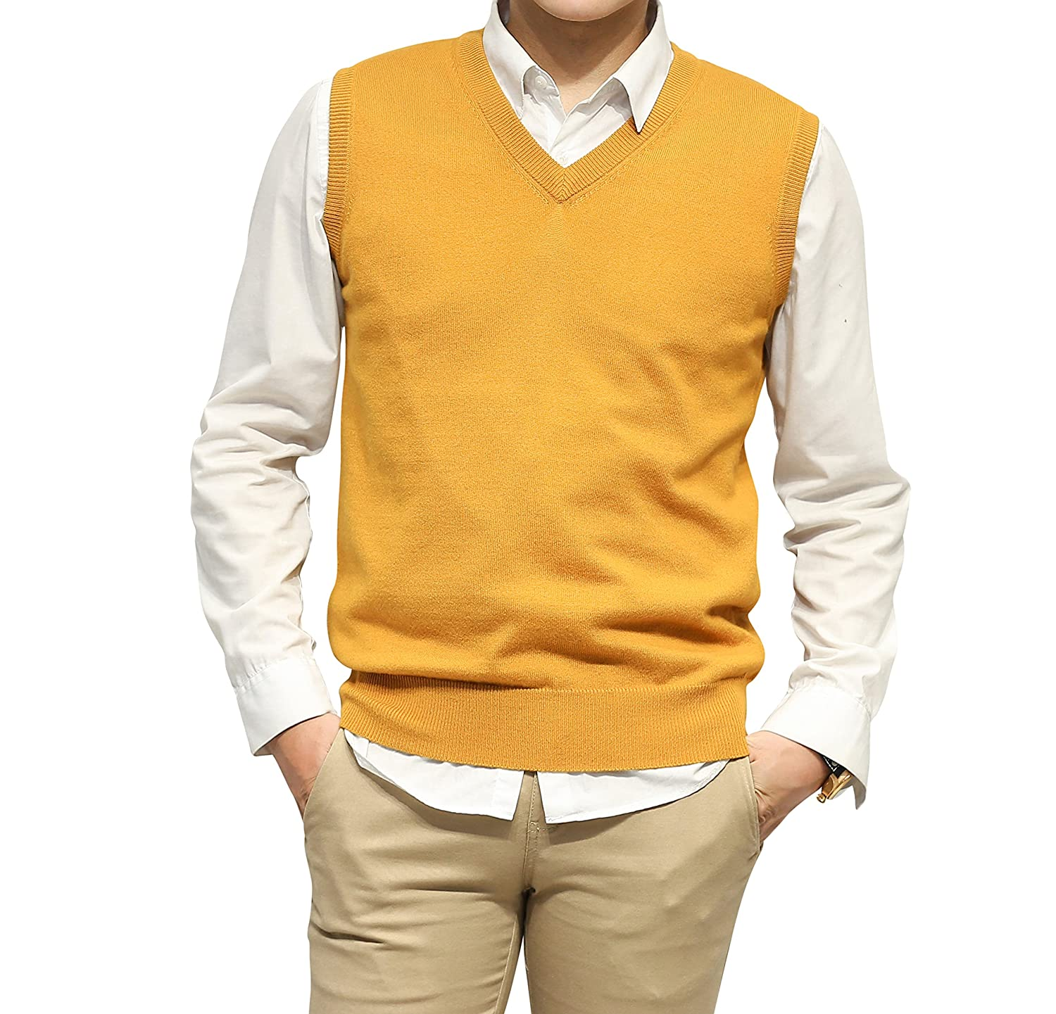 LongMing Men 's Cashmere V-Neck Sleeveless Sweater Vest at Amazon ...