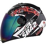 Steelbird SBA-2 Race Full Face Helmet in Matt Finish With Chrome Visor (Large 600 MM, Matt Black/White)