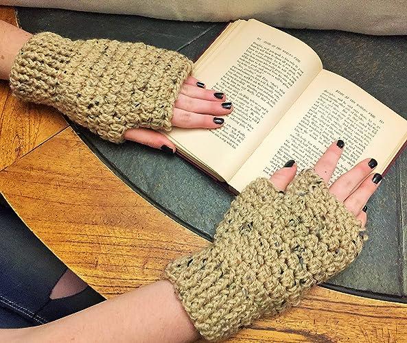 Amazoncom Fingerless Mittens Handmade Crochet Mittens Speckled