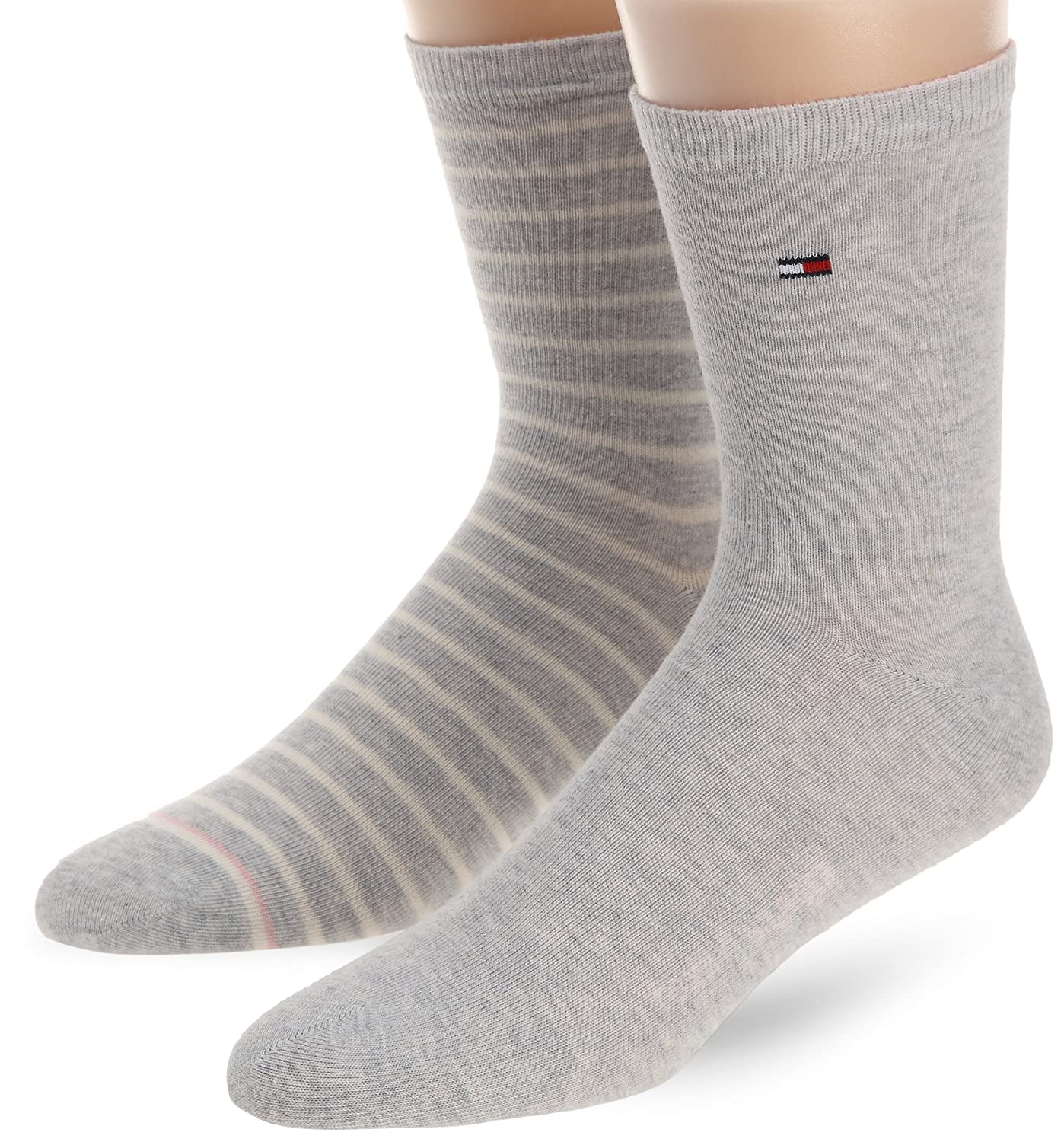 Tommy Hilfiger Stripe 2 Pack Women s Socks White Grey Size 2.5 to 4   Amazon.co.uk  Clothing 2bf08057915