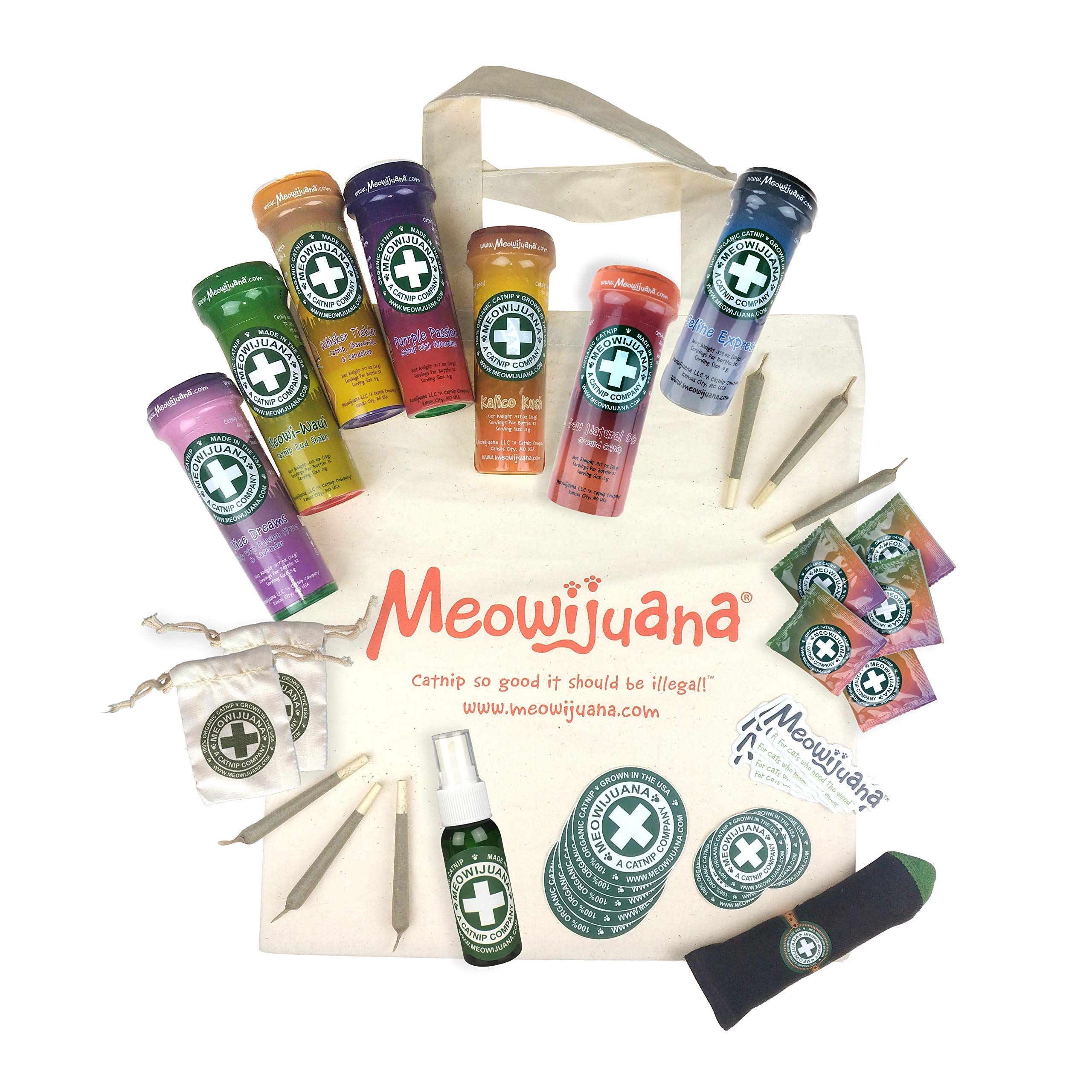 Meowijuana Catnip Collection, USA Grown, Feline Approved, Infused with Maximum Potency Your Kitty is Guaranteed to go Crazy for! Great Gift for Cat Lovers! by Meowijuana
