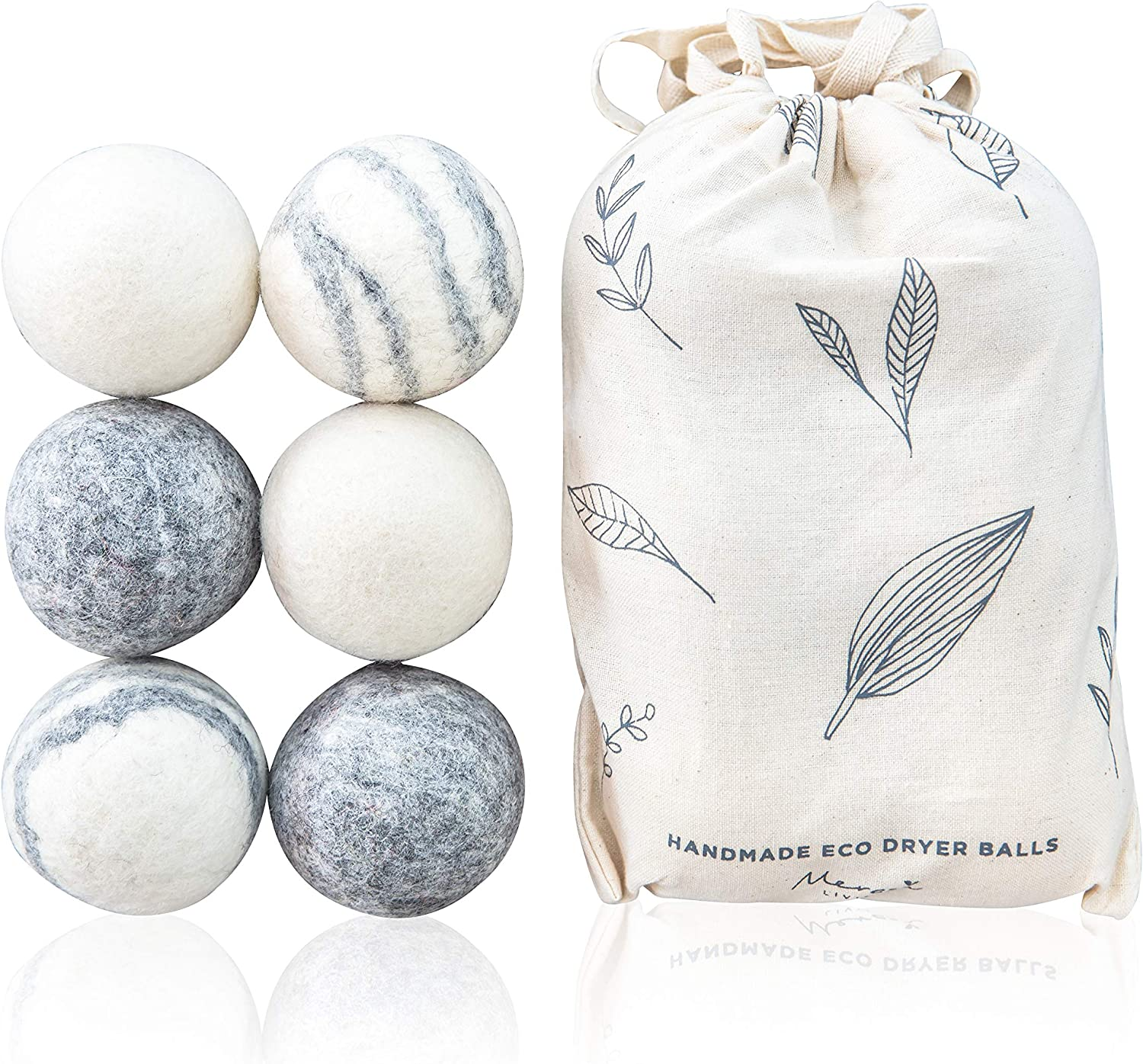 Eco Wool Dryer Balls, 100% Pure Wool, 6 Pack, XL - Natural Reusable Laundry Ball Set - Extra-Large, Eco-Friendly, Dryer Sheets and Fabric Softener Alternative - Anti Static, Reduces Drying Time