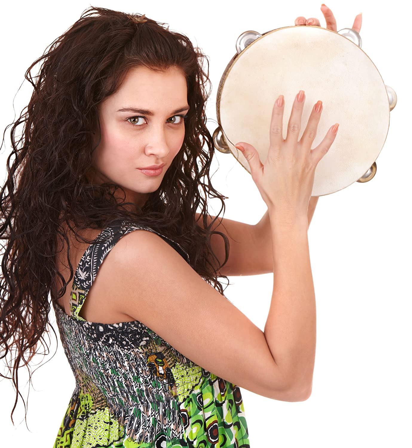 Double Row Jingle Tambourine 8 inch - Handheld Tamborine Drum for Church or Kids inTemenos
