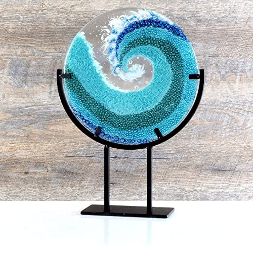 Spiral Glass Wave with Stand
