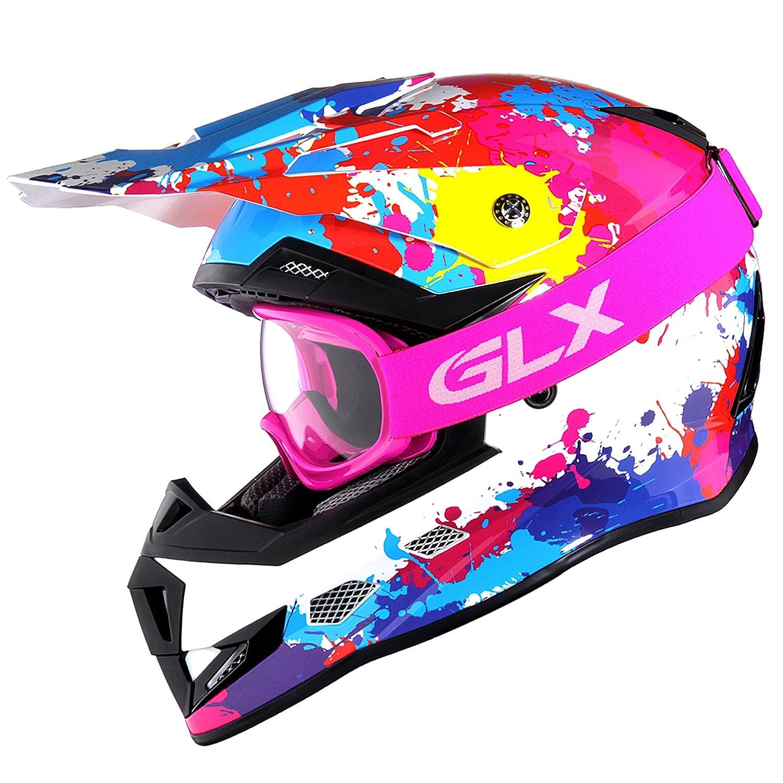 GLX Youth /& Kids Motocross//ATV//Dirt Bike 3-pc Gear Combo Set DOT Certified Helmet Gloves /& Goggles Medium, Graffiti Pink /& White