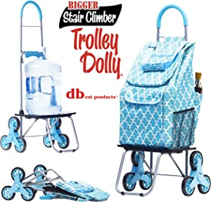 dbest products Stair Climber Bigger Trolley Dolly, Moroccan TileShopping Grocery Foldable Cart Condo Apartment Grocery Foldable Cart Condo Apartment
