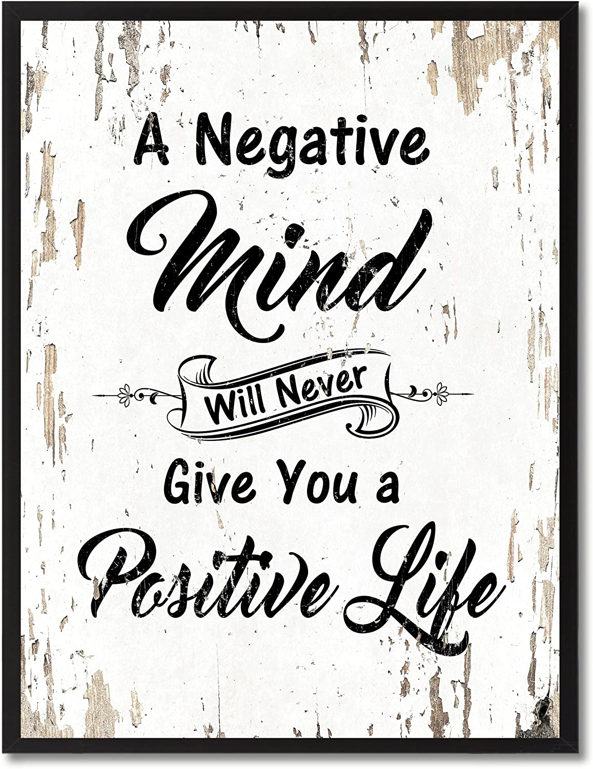 "SpotColorArt A Negative Mind Will Never Give You Positive Life Framed Canvas Art, 7"" x 9"", White"