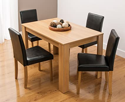 Dining Table And 4 Chairs With Faux Leather Oak Furniture Room Set Amazoncouk Kitchen Home