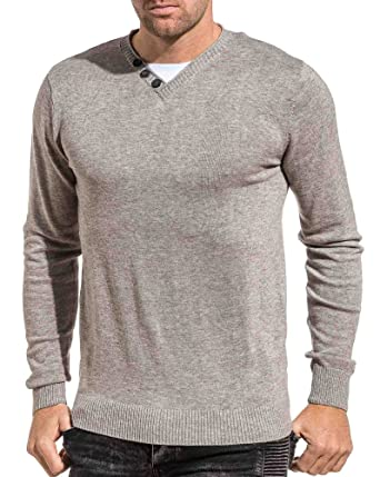940bb73df93 Deeluxe 74 - Pull Fin Homme Gris col V - Couleur  Gris - Taille  XXL ...