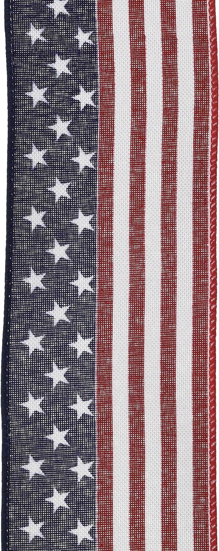 Craig Bachman Imports 2.5 x10yd Red White Blue Stars//Stripes Ribbon