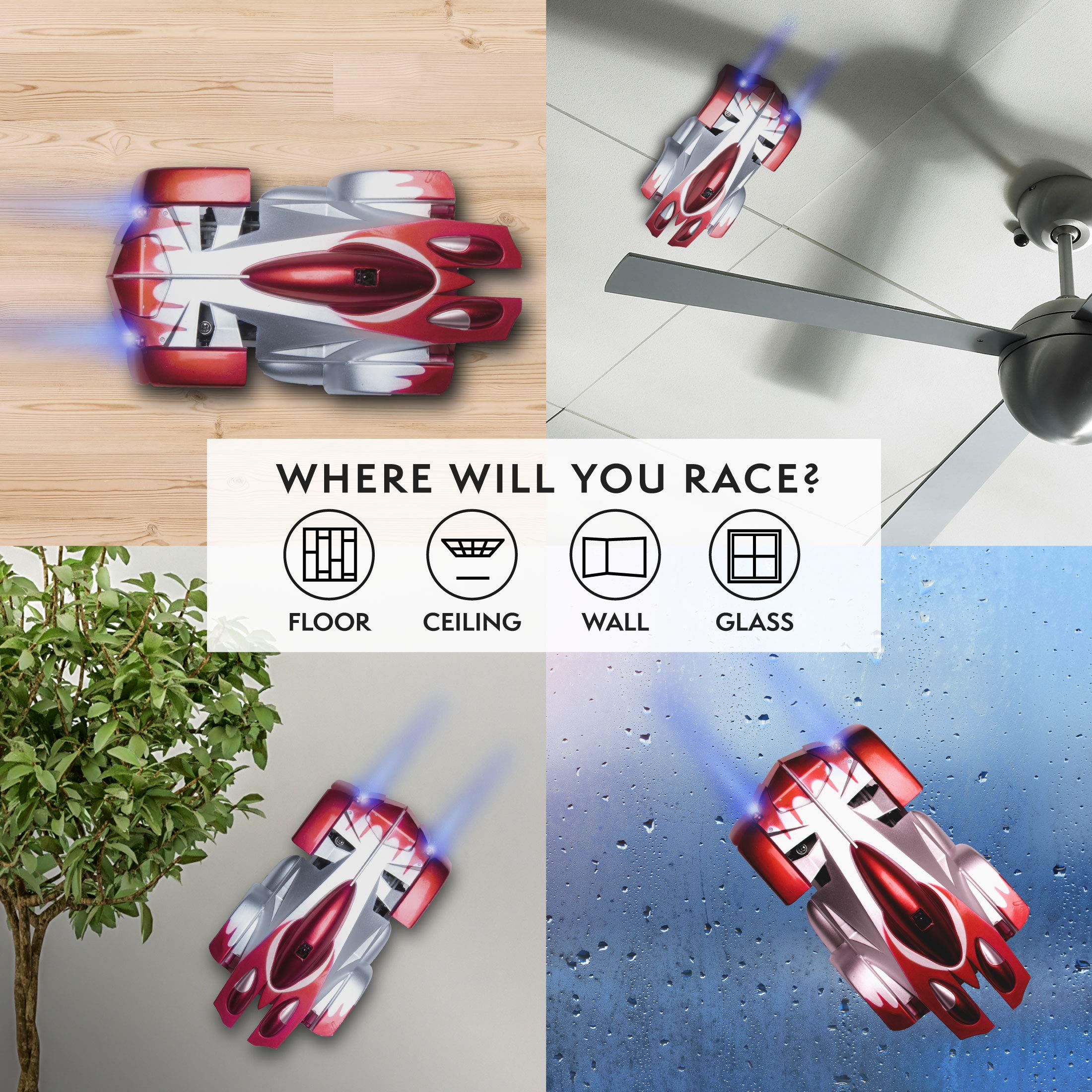 Force1 Remote Control Car Gravity Defying RC Car - RC Cars for Kids and Adults, Race Car Boys Toys for Floor or Wall w/ USB for Rechargeable Fast RC Car (Red) by Force1 (Image #2)
