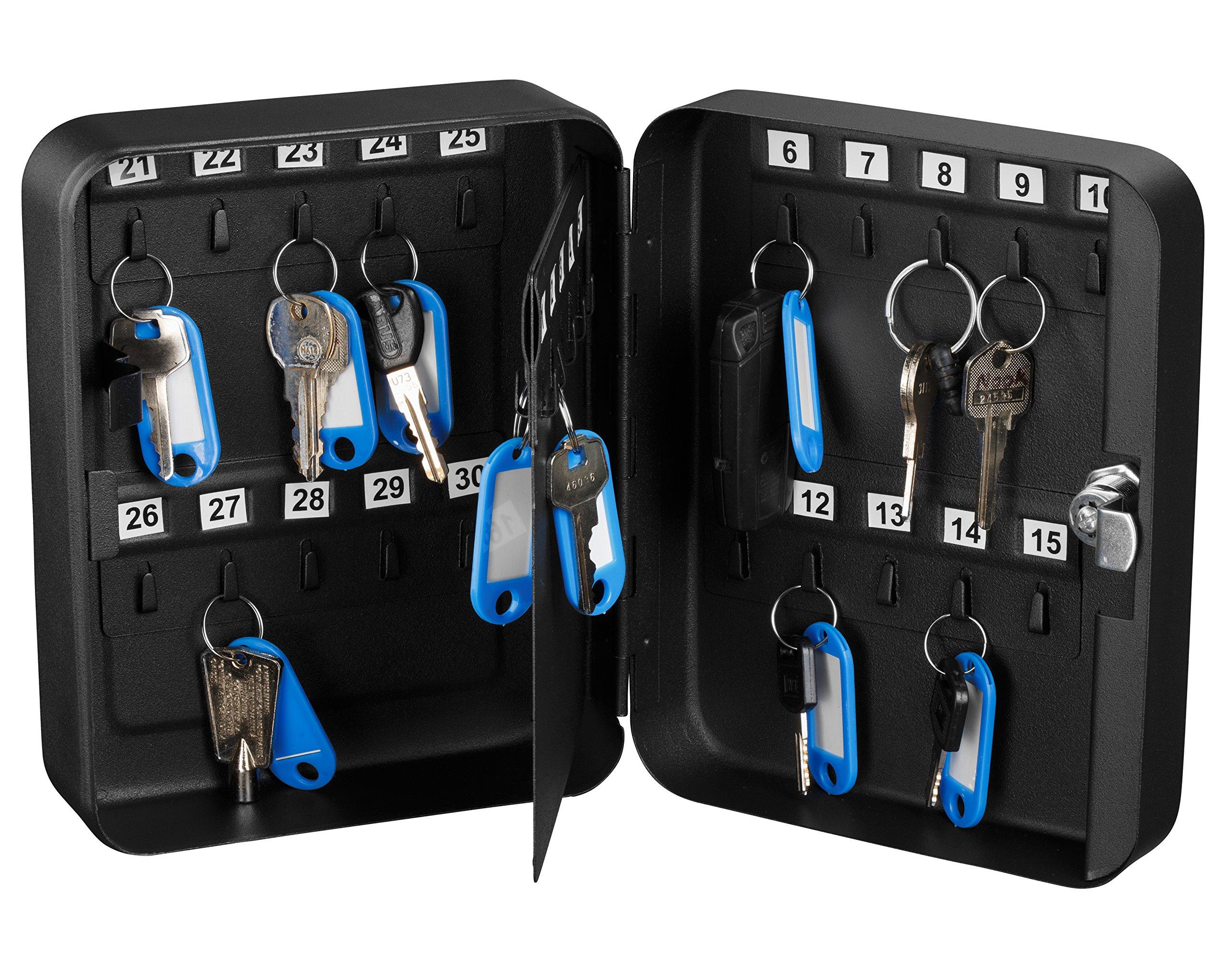 AdirOffice Key Steel Security Cabinet Box (30 Keys, Key Lock) (Black)