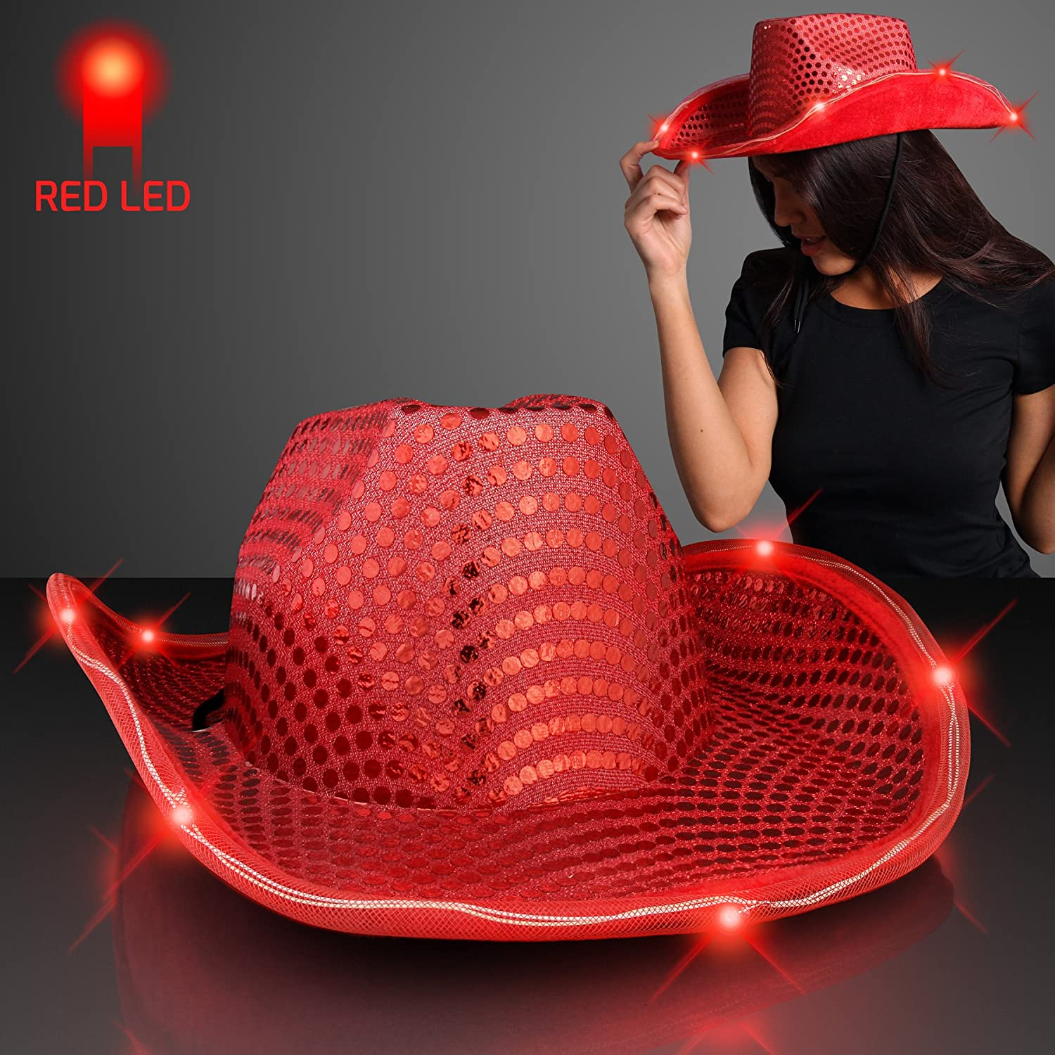 Amazon.com  Red Sequin Light Up LED Cowboy Hat with Red LED Brim  Toys    Games 830727021ec