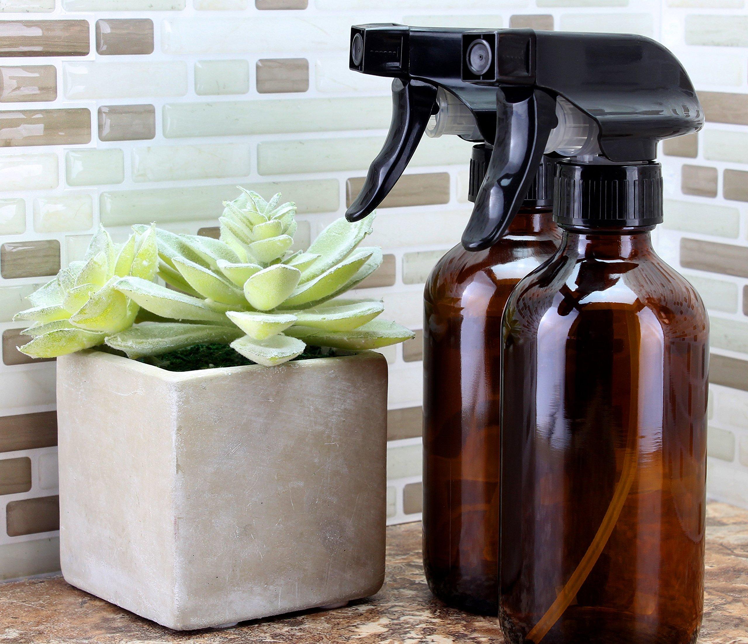 8oz Amber Glass Boston Round Spray Bottles (2 Pack); w/ Heavy Duty Mist & Stream Sprayers Perfect for Essential Oil Blends by Cornucopia Brands (Image #2)