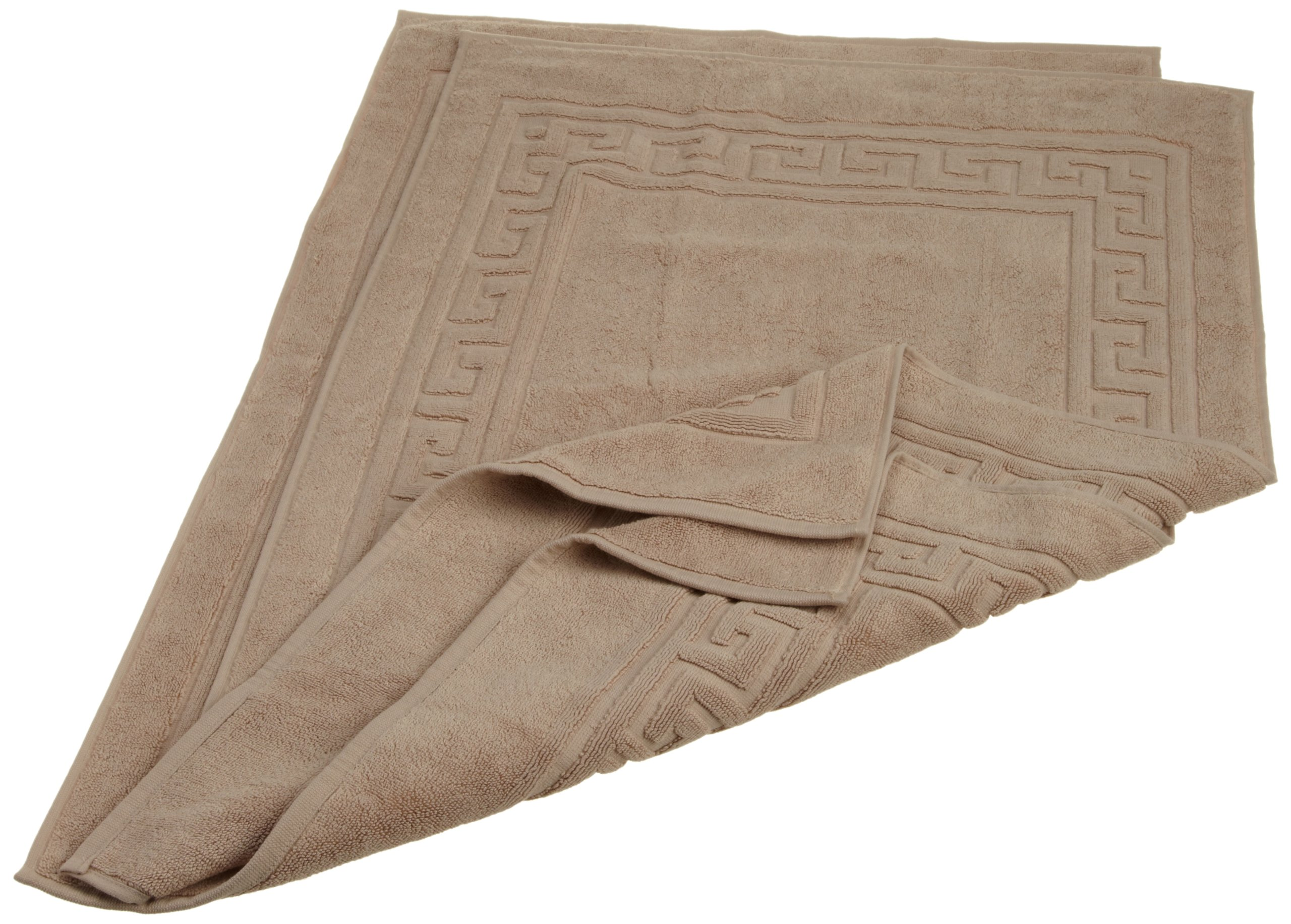 Superior Hotel & Spa Quality Bath Mat Set of 2, Made of 100% Premium Long-Staple Combed Cotton, Durable and Washable Bathroom Mat 2-Pack - Taupe, 22'' x 35'' each