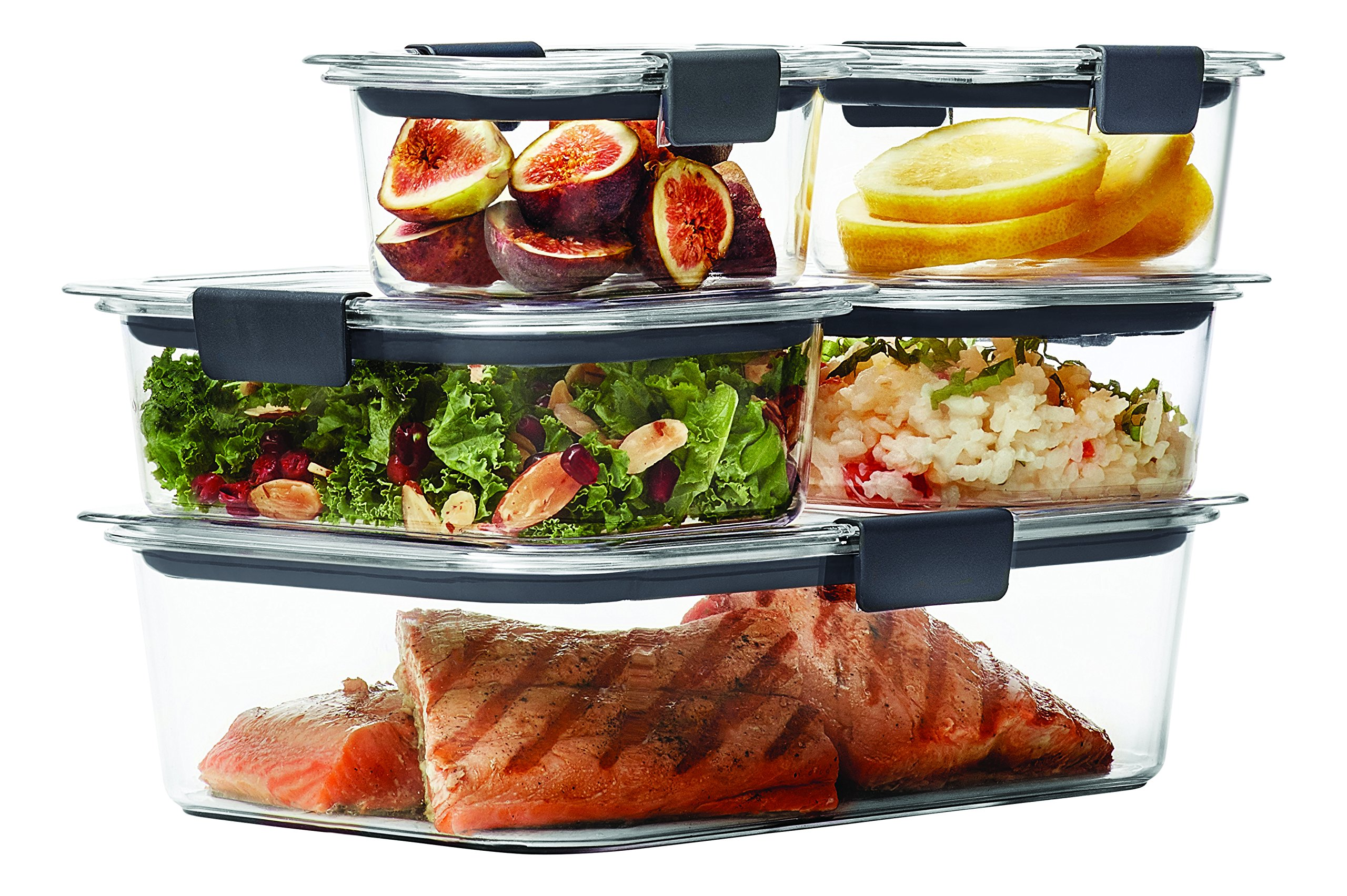 Rubbermaid Brilliance Food Storage Container, Clear, 10-Piece Set 1976520 by Rubbermaid