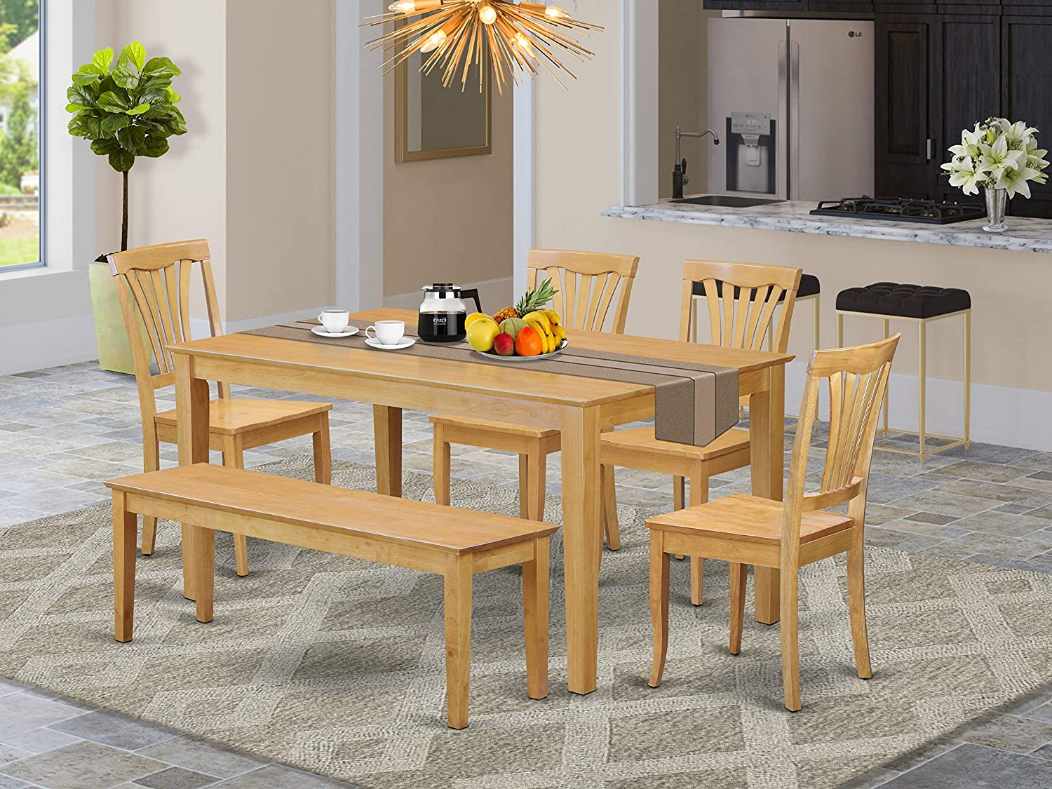 Amazon Com East West Furniture Small Kitchen Table Set 6 Pc Wooden Kitchen Chairs Seat Oak Finish Wood Dining Table And Bench Furniture Decor