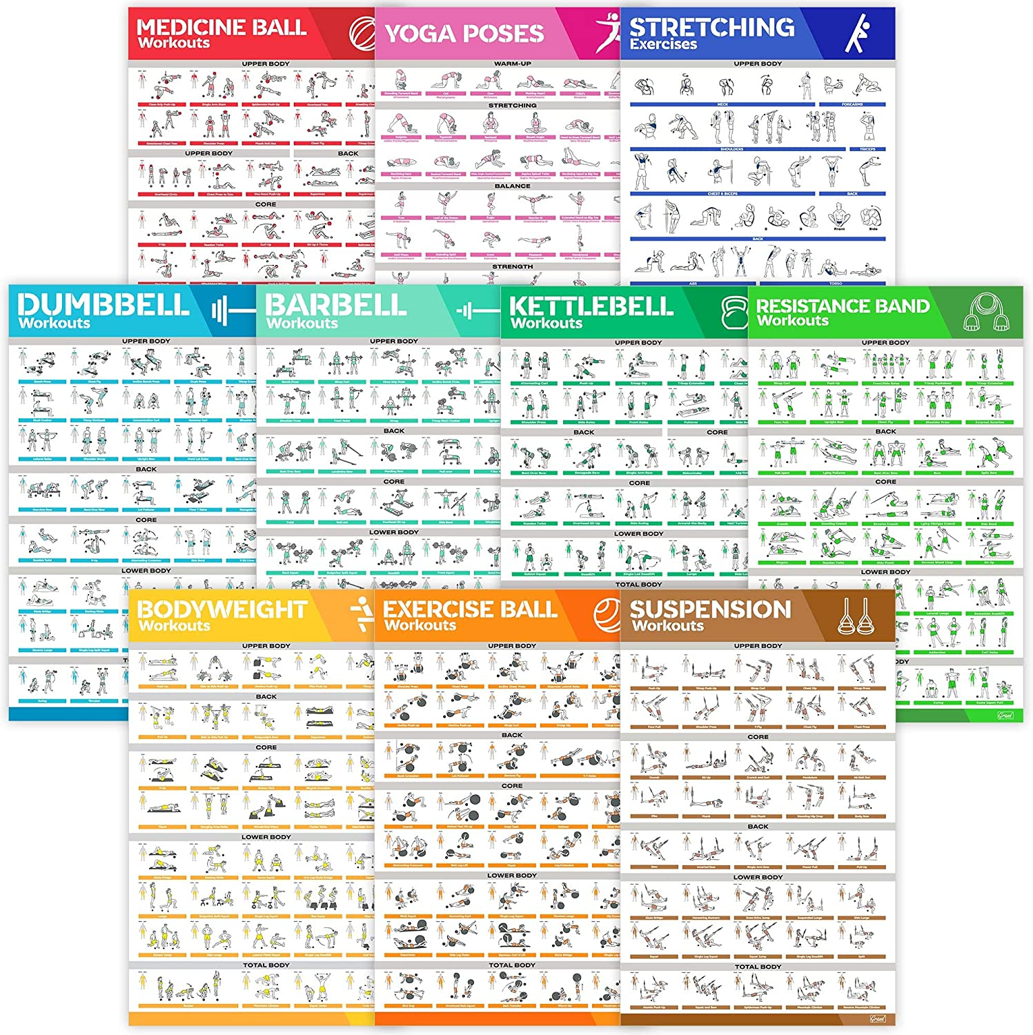 [10-PACK] Laminated Large Workout Poster Set - Perfect Workout Posters For Home Gym - Exercise Charts Incl. Dumbbell, Yoga Poses, Resistance Band, Kettlebell, Stretching & More Fitness Gym Posters