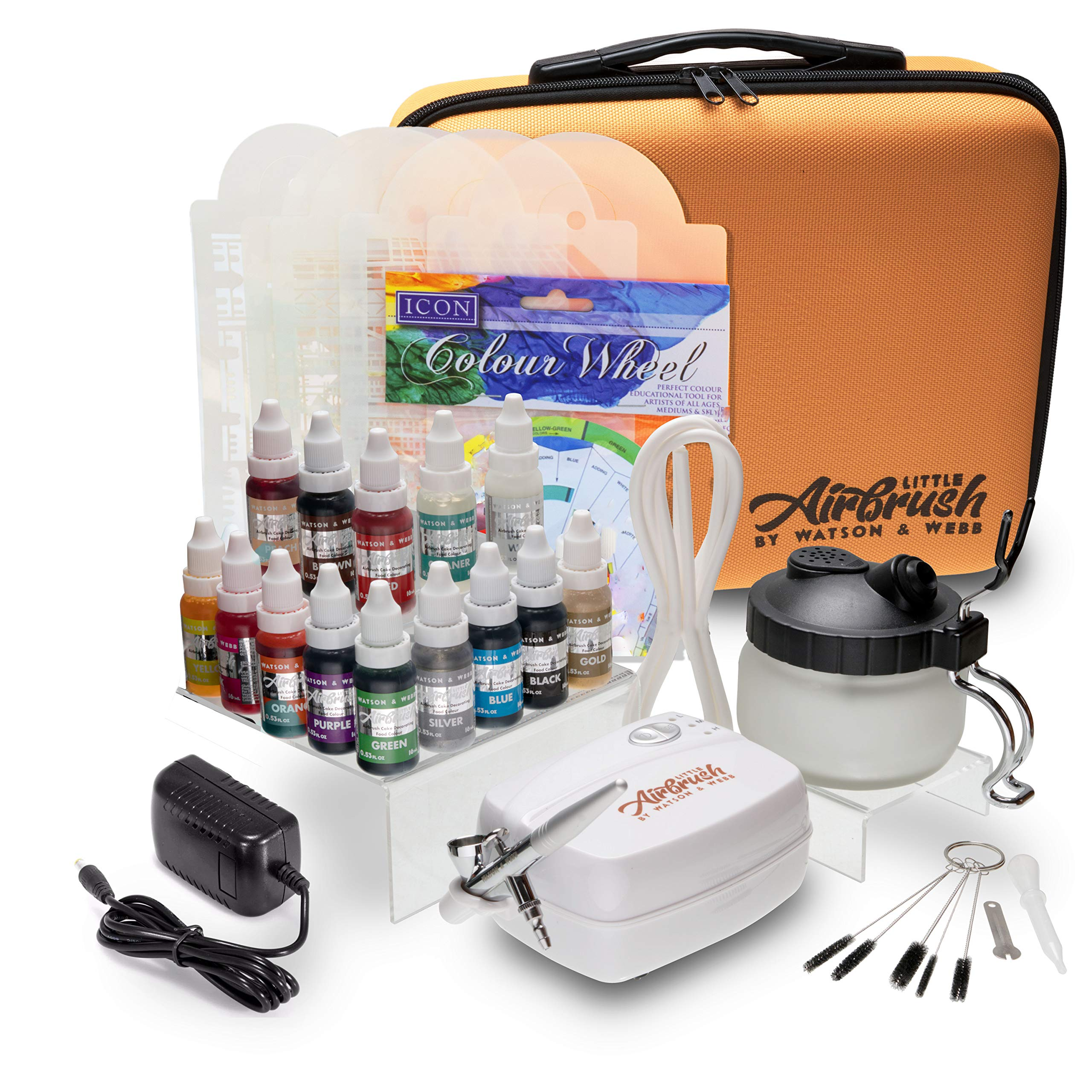 Airbrush Cake Decorating Kit - Watson and Webb Little Airbrush Including 13 Colors, Stencil, 1 x Airbrush Cleaning Solution and Pot, Cleaning Brushes and Case by Watson and Webb