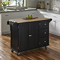 Deals on Home Styles Liberty Black Kitchen Cart with Wood Top
