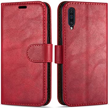 Case Collection Funda de Cuero para Samsung Galaxy A70 (6,7 ...