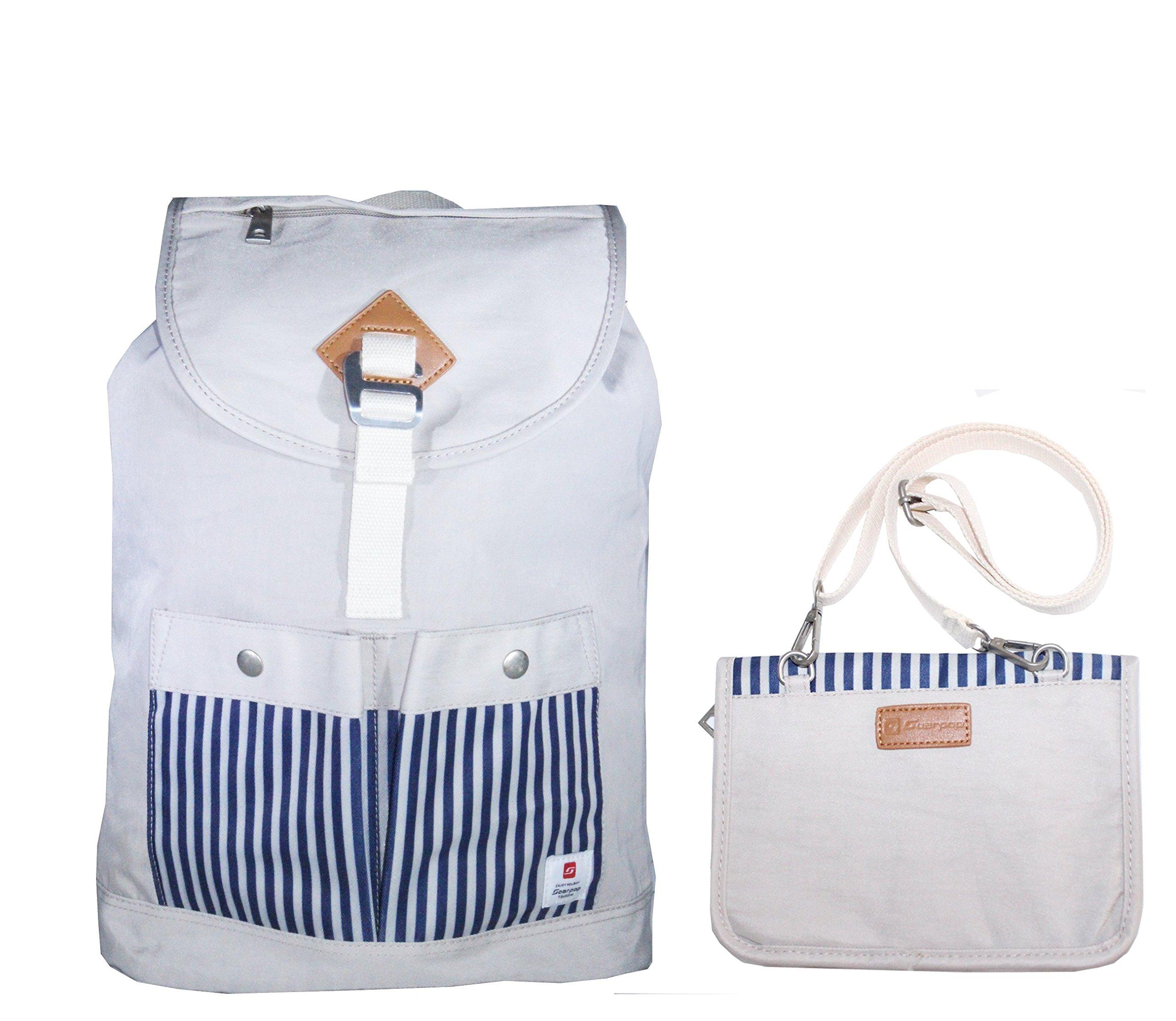 Avilana School Backpack Lightweight Travel Backpack | Laptop Backpack | Roomy, Multi-Functional, and Water-Resistant Drawstring Backpack by (Beige)