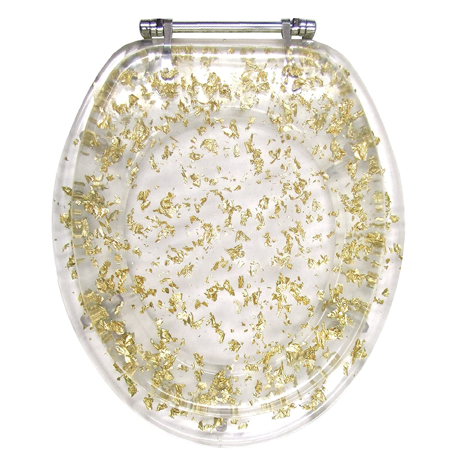 Incredible Ginsey Elongated Resin Toilet Seat With Chrome Hinges Gold Foil Caraccident5 Cool Chair Designs And Ideas Caraccident5Info