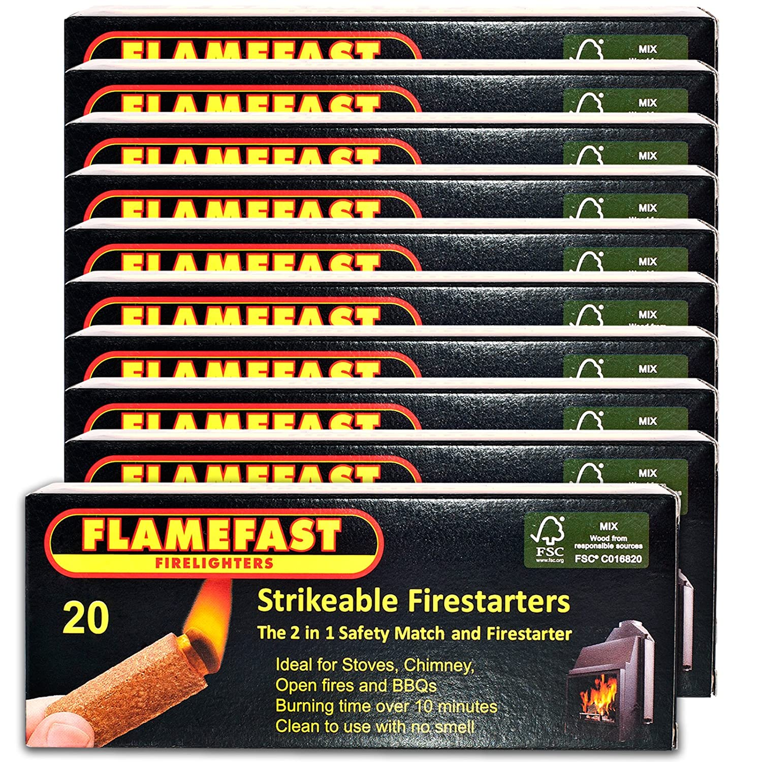 10 X Packs of 20 Flamefast Strikeable Firelighters Easy to Use 2in1 Safety Match and Firestarter Burns for 10 Minutes & Tigerbox Safety Matches