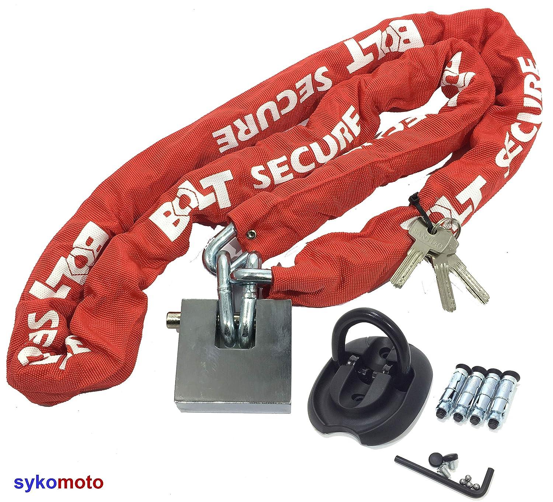 BOLT-BLOCK Bloque DE Cadena DE Alta Seguridad DE Moto ANTIRROBO con CANDADO Resistente Acero 1.8 Metro Y Acero Anclaje Triton