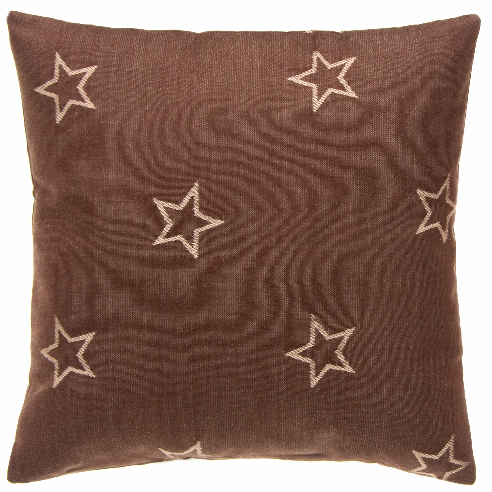 Camp River Rock Brown With Stars Throw Pillow by Glenna Jean