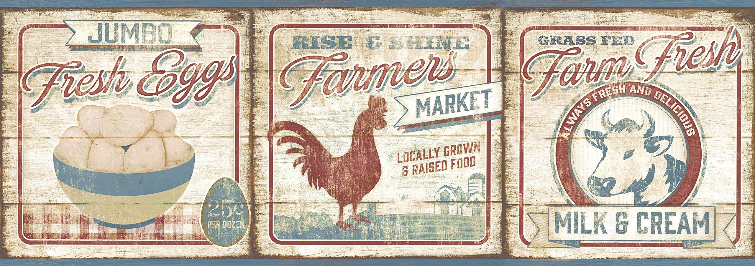 Chesapeake CCB2261 Country Farmers Market Dark Red Border