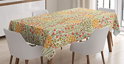 Amazoncom Flower Decor Tablecloth By Ambesonne Leaves Flowers Old - Picture-table-by-ivydesign