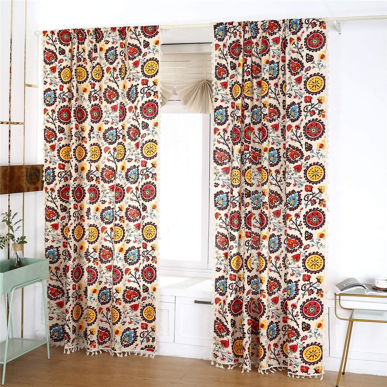 You Sa 2 Panels Cotton Linen Boho Style Window Curtain Panels Ethnic Home Decorative Privacy Window Treatment Rod Pocket 59 X94 Home Kitchen