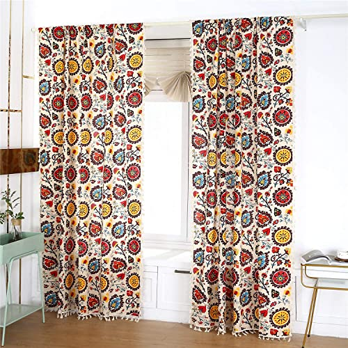 YOU SA 2 Panels Sunflower Pattern Window Curtains Cotton Linen Bohemia Style Room Darkening Curtain Panel