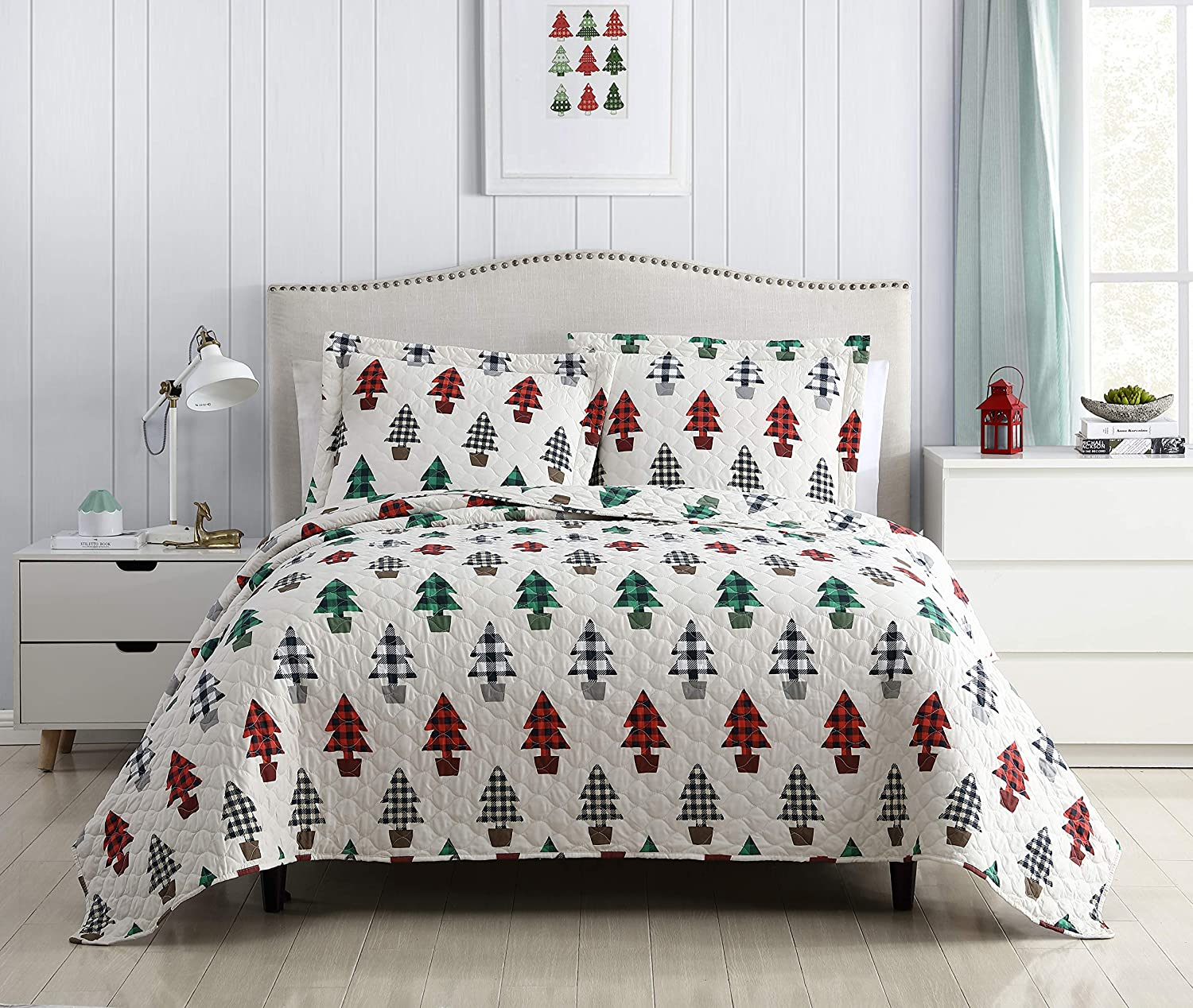 SL Spirit Linen Home EST. 1988 Holiday Collection Quilt Set - Ultra-Soft, Reversible Coverlet Bedding - Oversized Quilt with Matching Pillow Shams, King, Christmas