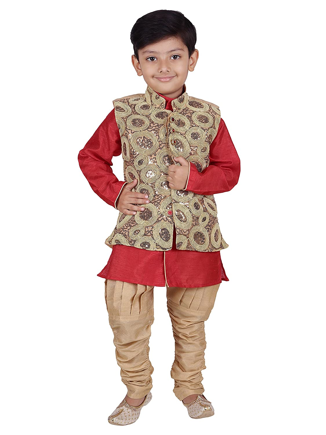 AJ Dezines Kids Indian Wear Bollywood Style Kurta Pyjama Waistcoat for Boys 615-FAWN-9-Kids Ethnic Wear