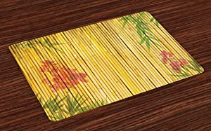 Lunarable Bamboo Print Place Mats Set of 4, Lotus Flower and Background on Stems Tropical Plant Oriental Art, Washable Fabric Placemats for Dining Room Kitchen Table Decor, Yellow Lime Green Pink