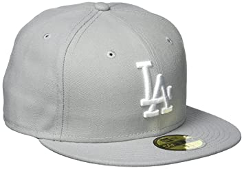 New Era MLB Basic LA Dodgers 59 FIFTY Fitted Hat Adult Baseball Cap Grau  Weiß da7776328f