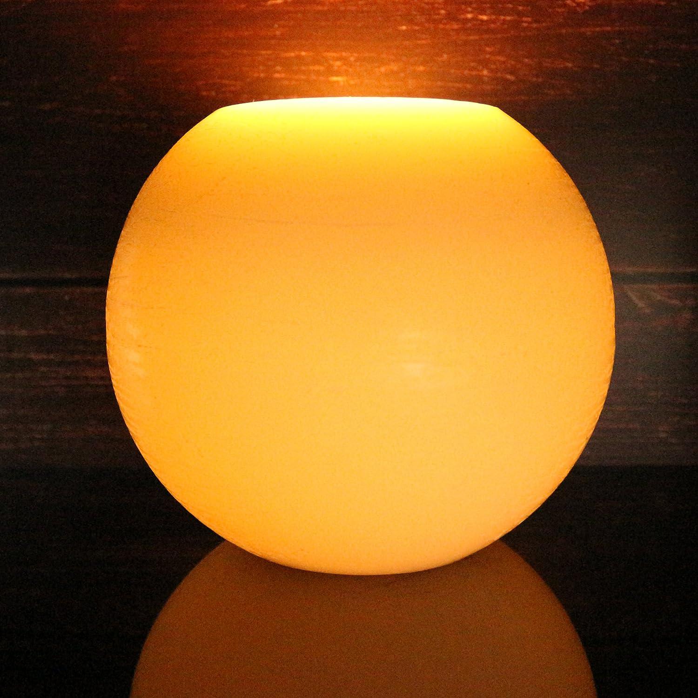 marfil Luna bola de esfera baile llama Vela Led de cera funciona con pilas sin llama vela Led de cera con temporizador y mando a distancia CVHOMEDECO Dia.15,2 x H12,7 cm