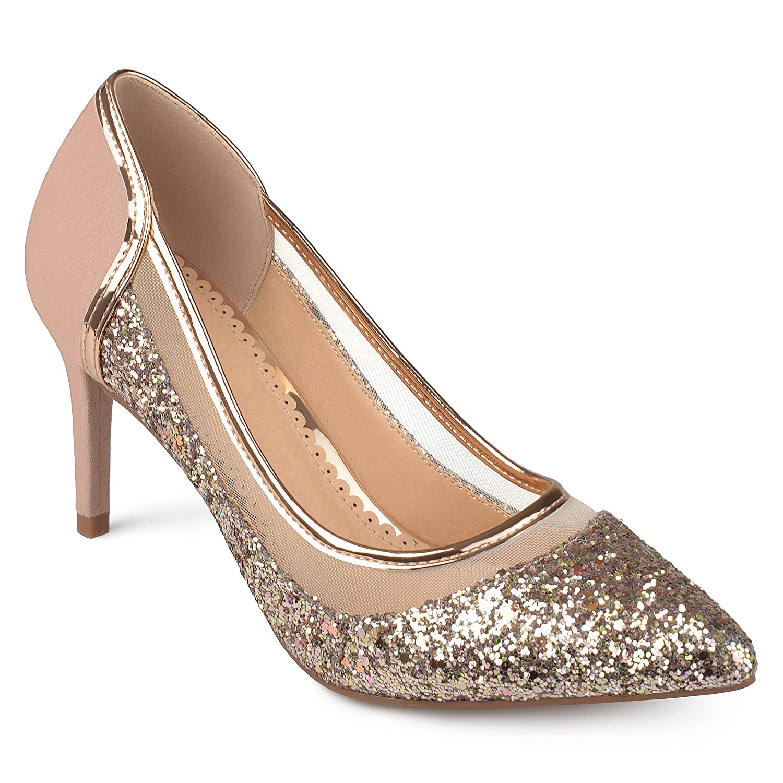 Journee Collection Womens Almond Toe Glitter Mesh Heels