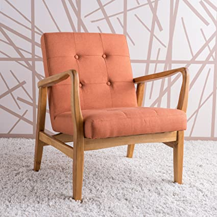 Conrad Orange Fabric Mid Century Modern Club Chair