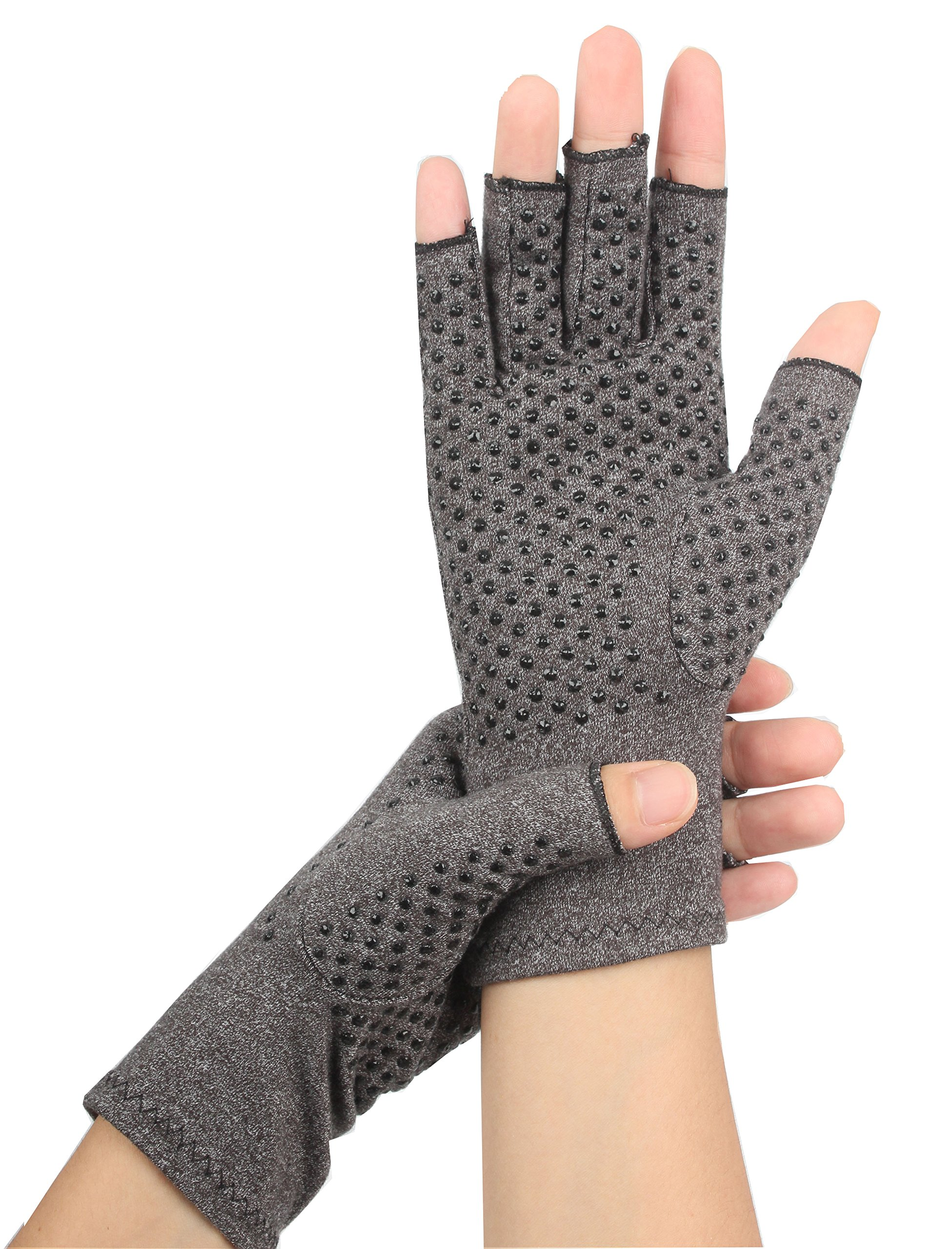 Arthritis Dispensin Gloves by Global Epworth - Compression Gloves for Rheumatoid & Osteoarthritis - Hand Gloves Provide Arthritic Joint Pain Symptom Relief - Men & Women - Open Finger(large)
