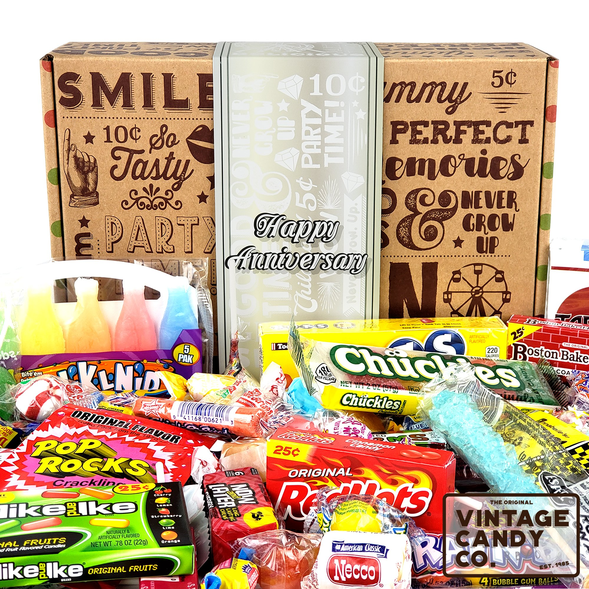 HAPPY ANNIVERSARY GIFT FOR MEN OR WOMEN - Fun, Unique & Tasty Candy Gift For Anniversary Celebration Year - PERFECT for Family, Friend, Couple, Associate, Co-Worker - Him or Her (65 Pieces)