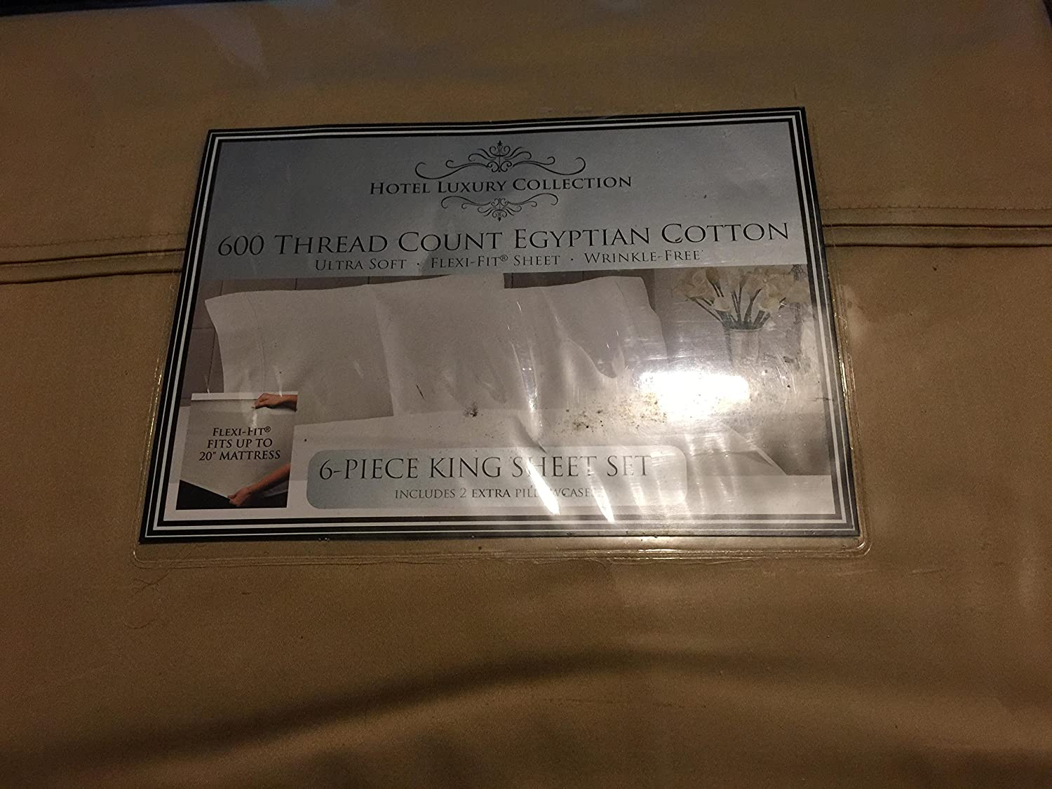 Amazon.com: Hotel Luxury 600 Thread Count Egyption Cotton 6 pc. Sheet Set - King/Gold: Home & Kitchen