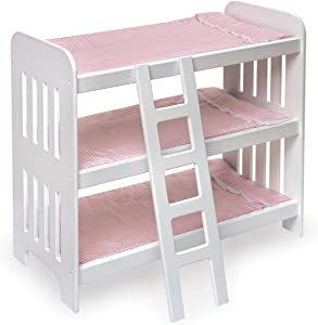 Triple Doll Bunk Bed with Ladder, Bedding, and Free Personalization Kit (fits American Girl Dolls)